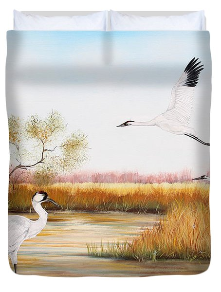 Whooping Cranes-jp3151 Duvet Cover
