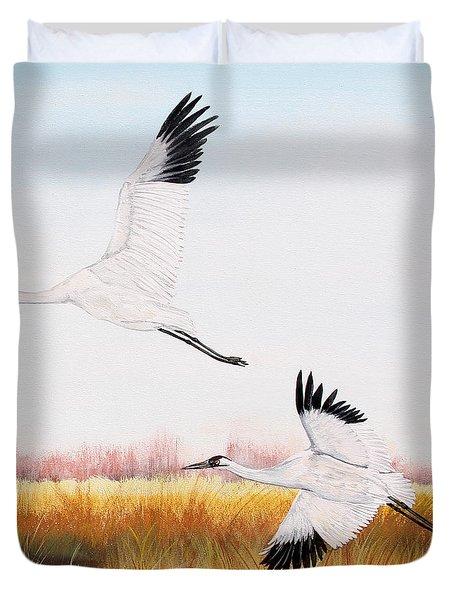 Whooping Cranes-jp3155 Duvet Cover