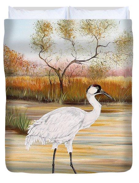 Whooping Cranes-jp3156 Duvet Cover