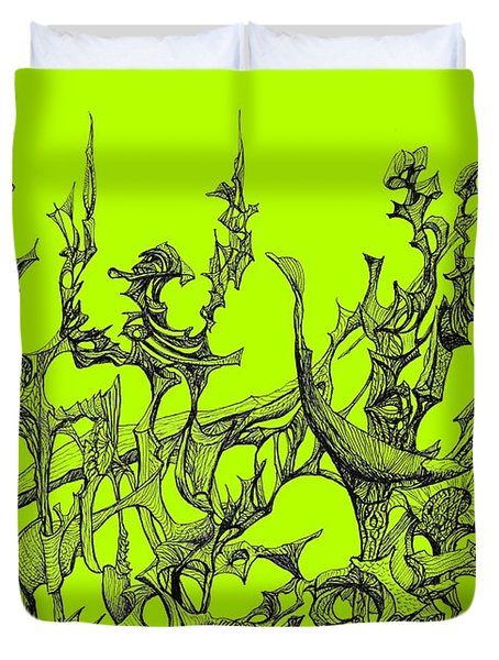 Whooshh -  Lime Background Duvet Cover