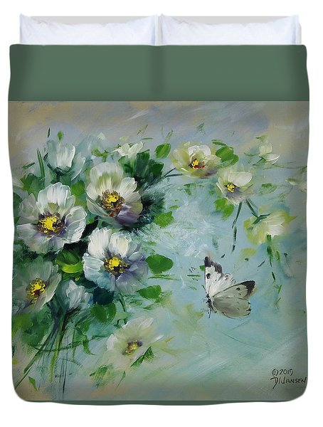 Whte Butterfly And Blossoms Duvet Cover by David Jansen