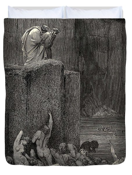 Why Greedily Thus Bendest More On Me Than On These Other Filthy Ones Thy Ken Gustave Dore Duvet Cover