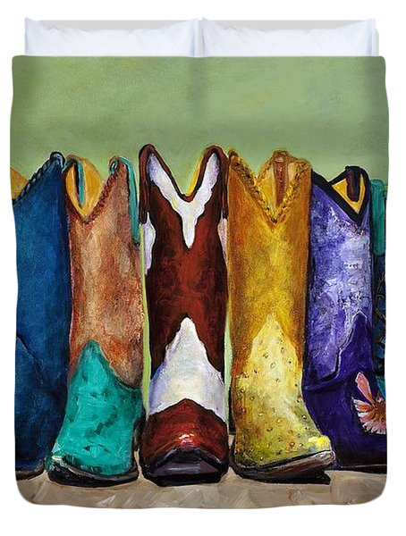 Why Real Men Want To Be Cowboys Duvet Cover by Frances Marino