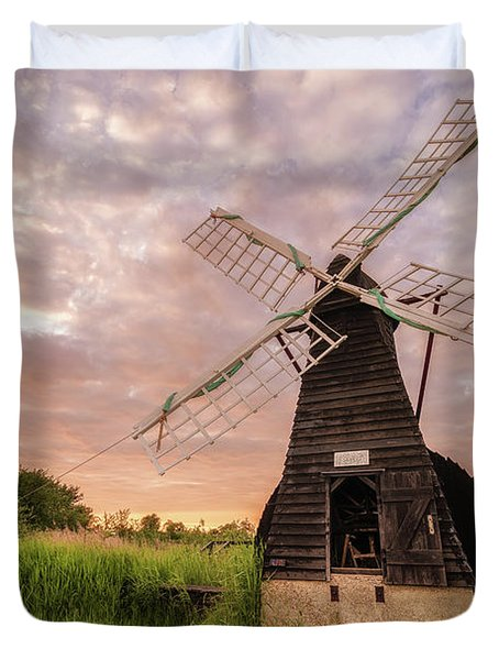 Duvet Cover featuring the photograph Wicken Wind-pump At Sunset II by James Billings