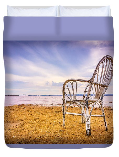Duvet Cover featuring the photograph Wicker Chair by Gary Gillette
