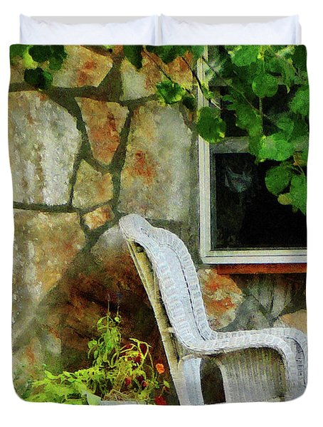 Wicker Rocking Chair On Porch Duvet Cover by Susan Savad