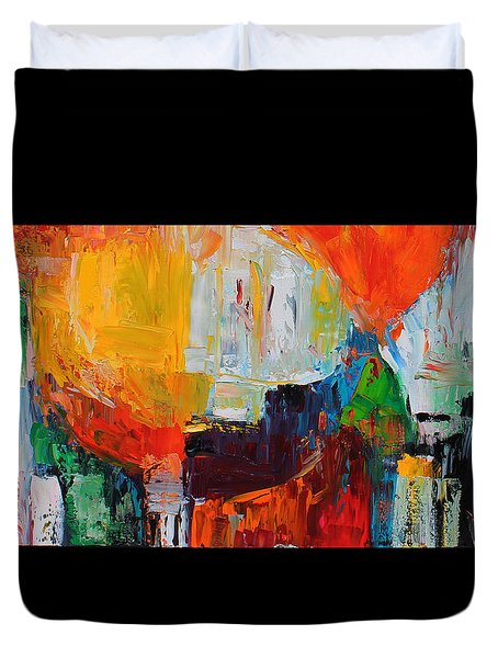 Wide Abstract F Duvet Cover by Becky Kim