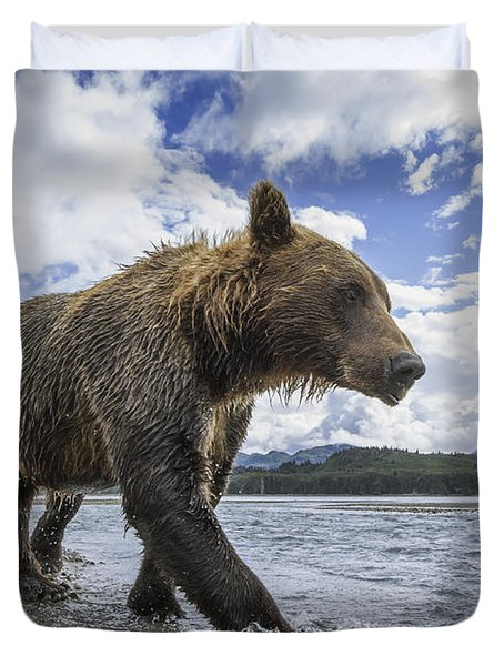 Wide Angle View Of Coastal Brown Bear Duvet Cover by Paul Souders