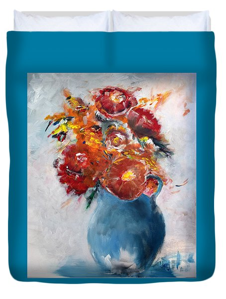 Wide-eyed Flowers In A Blue Pot Duvet Cover