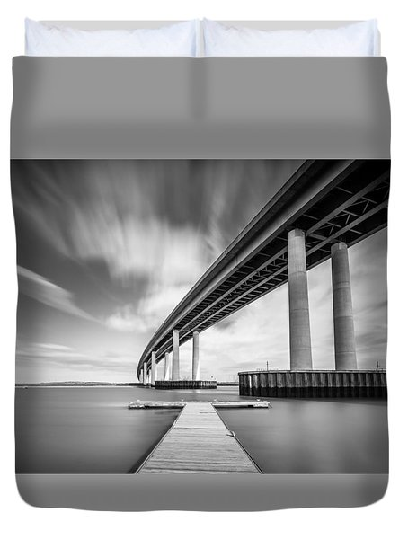 Duvet Cover featuring the photograph Wide  River Bridge by Gary Gillette