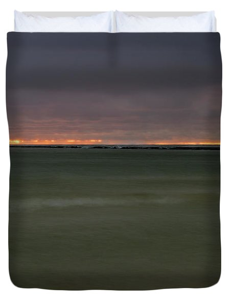 Wide View Of Lighthouse And Sunset Duvet Cover