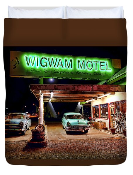 Wigwam Motel Duvet Cover by Jason Abando