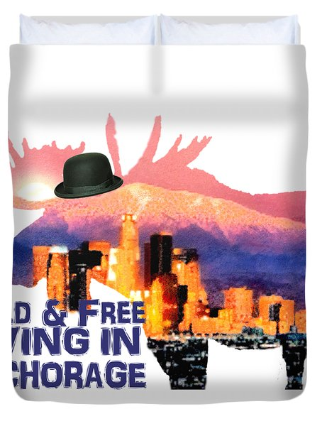 Duvet Cover featuring the digital art Wild And Free-in Anchorage by Elaine Ossipov