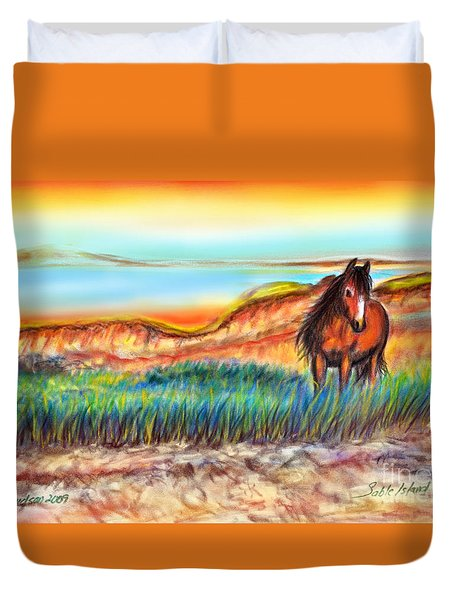Wild And Free Sable Island Horse Duvet Cover by Patricia L Davidson