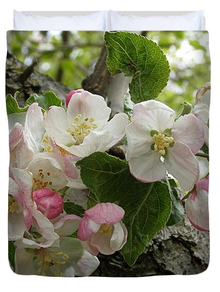 Duvet Cover featuring the photograph Wild Apple Blossoms by Angie Rea