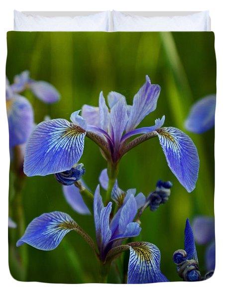 Wild Blue Iris Duvet Cover