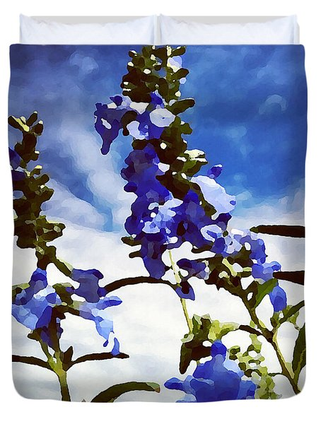 Wild Blue Sage  Duvet Cover