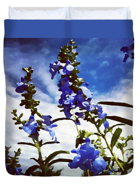 Duvet Cover featuring the digital art Wild Blue Sage  by Shelli Fitzpatrick