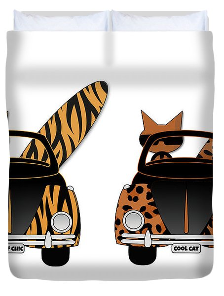 Wild Cats Go Surfing Duvet Cover