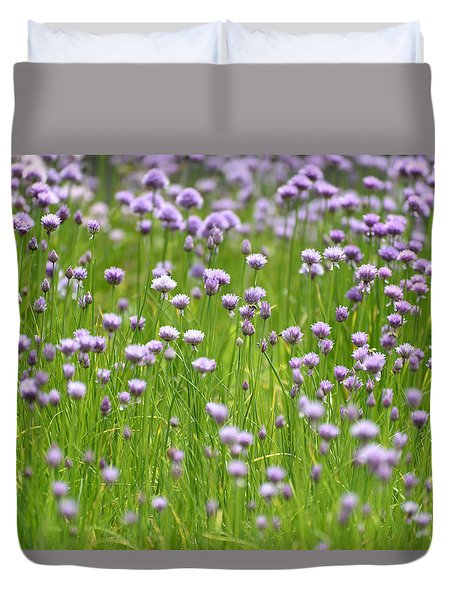 Duvet Cover featuring the photograph Wild Chives by Chevy Fleet