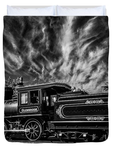 Wild Clouds Over Old Train Duvet Cover