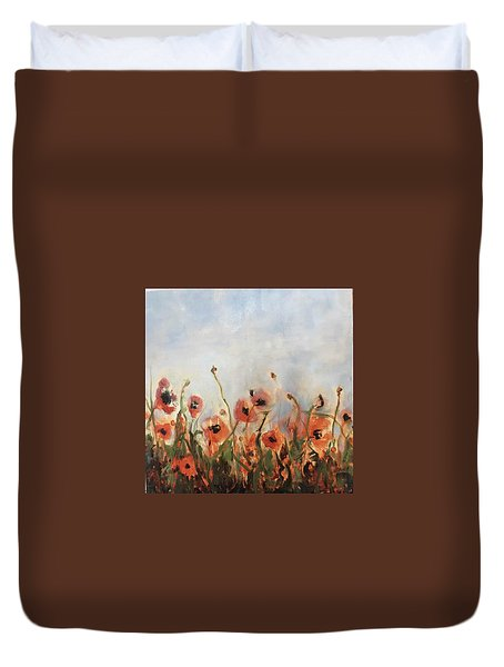 Wild Corn Poppies Underpainting Duvet Cover