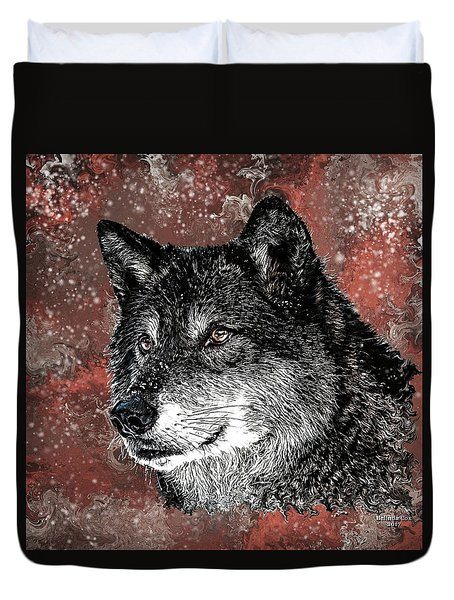 Wild Dark Wolf Duvet Cover