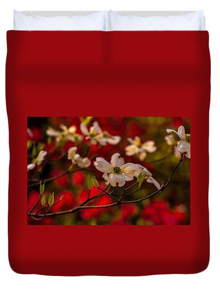 Wild Dogwood And Red Azaleas Duvet Cover