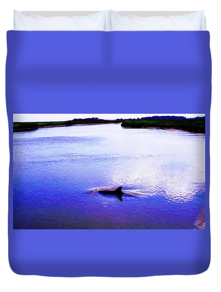 Wild Dolphin Duvet Cover by Patricia Greer
