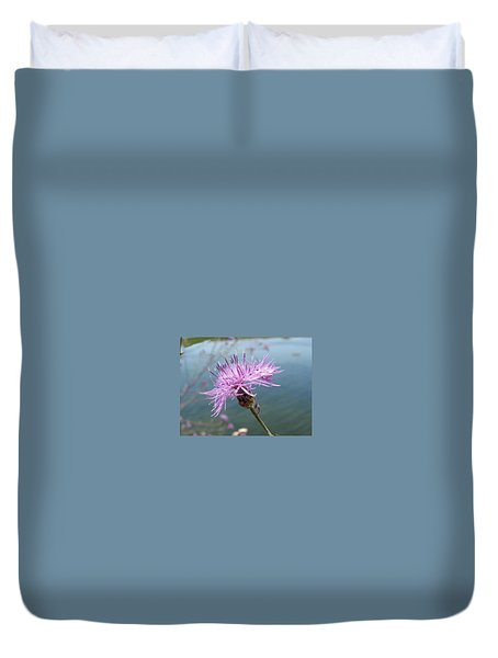Duvet Cover featuring the photograph Wild Flower By The Lake by Martha Ayotte