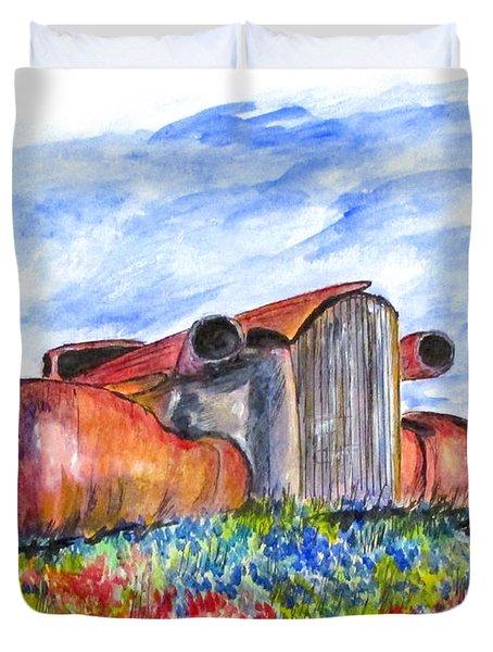 Wild Flower Junk Car Duvet Cover