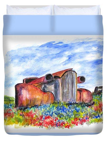 Wild Flower Junk Car Duvet Cover by Clyde J Kell