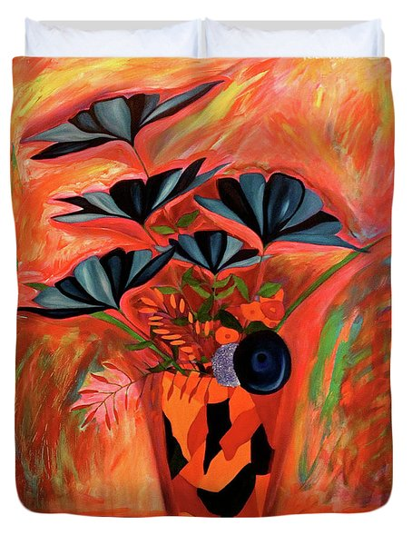 Duvet Cover featuring the painting Wild Flowers  A Still Life  by Iconic Images Art Gallery David Pucciarelli