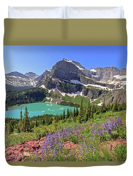 Wild Flowers Above Grinnell Lake Duvet Cover