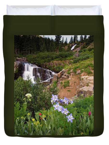 Wild Flowers And Waterfalls Duvet Cover