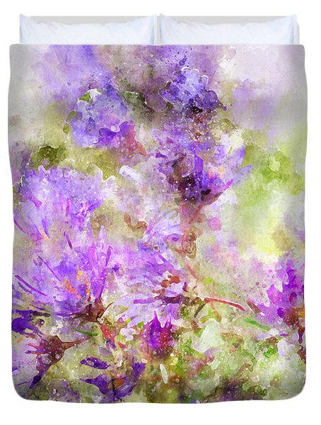 Wild Flowers In The Fall Watercolor Duvet Cover