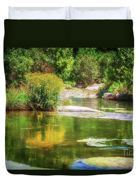 Wild Flowers On Blue River Duvet Cover