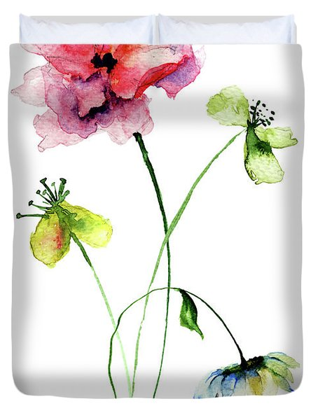 Wild Flowers Watercolor Illustration Duvet Cover