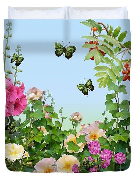 Duvet Cover featuring the painting Wild Garden by Ivana Westin