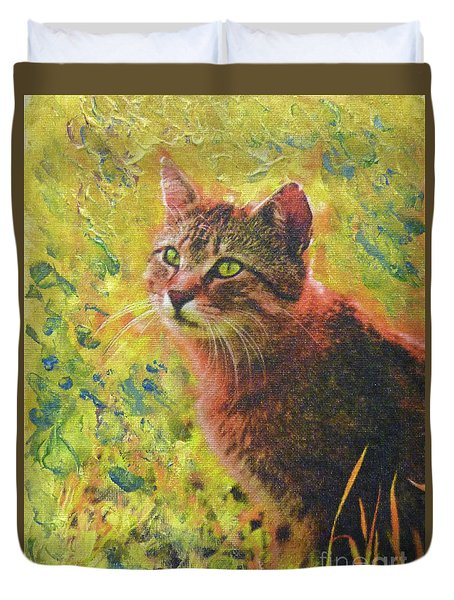 Wild Garden Tabby Duvet Cover