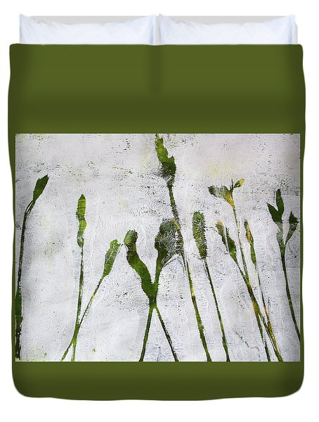 Duvet Cover featuring the painting Wild Grass 4 by Nancy Merkle