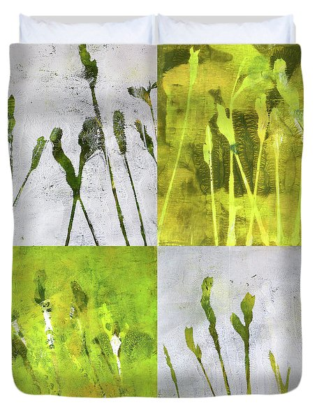 Duvet Cover featuring the painting Wild Grass Collage 1 by Nancy Merkle