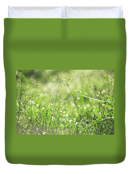Wild Grass Voices. Green World Duvet Cover by Jenny Rainbow