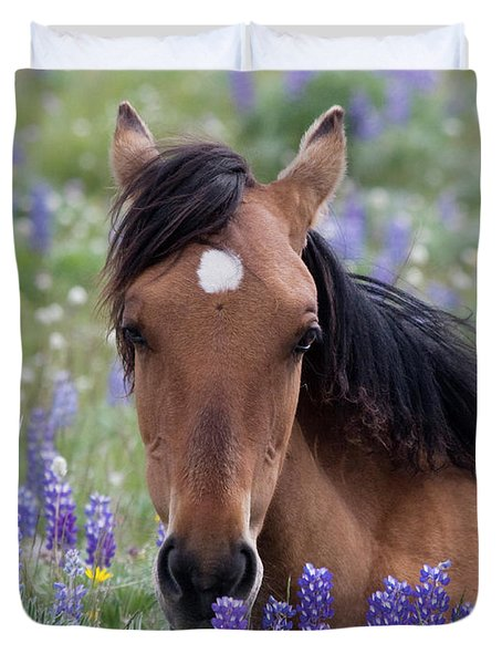 Wild Horse Among Lupines Duvet Cover