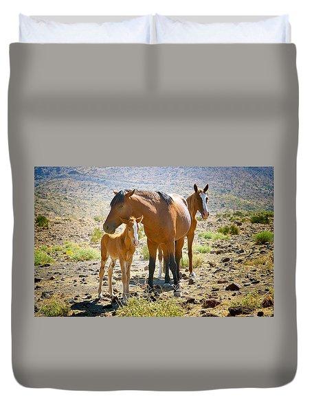 Wild Horse Family Duvet Cover