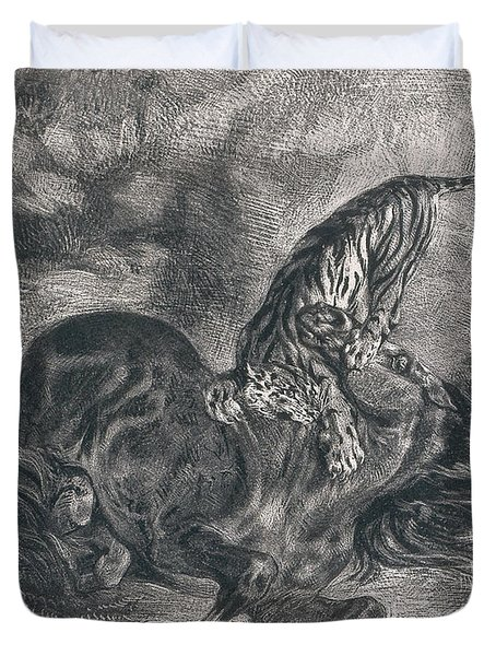 Wild Horse Felled By A Tiger Duvet Cover