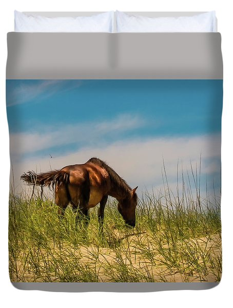 Wild Horse And Dragon Flies Duvet Cover