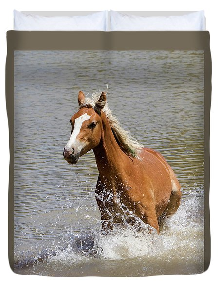 Wild Horse Splashing At The Water Hole Duvet Cover