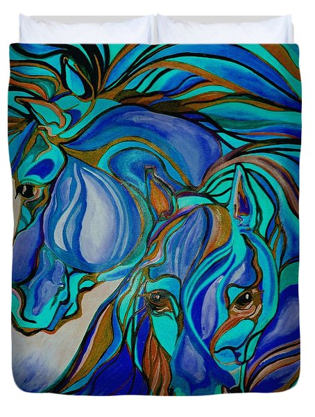 Wild  Horses In Brown And Teal Duvet Cover