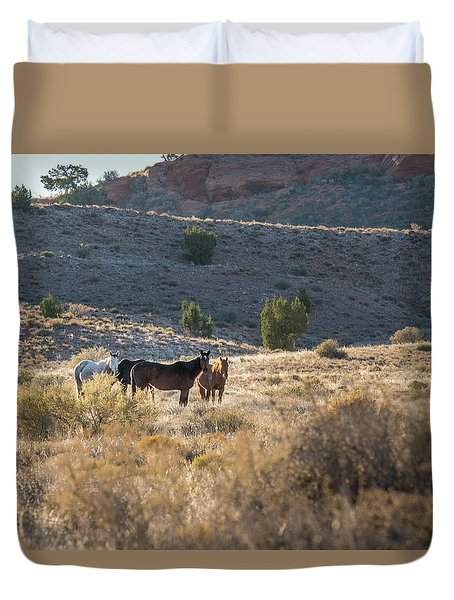 Duvet Cover featuring the photograph Wild Horses In Monument Valley by Jon Glaser